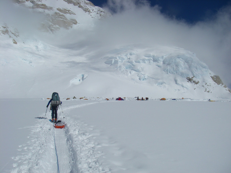 Approaching C3 (14,200ft = 4.328m). Durny with sled.