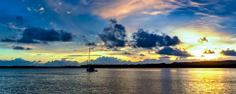 Gold and Blue nautical Sunrise Seascape Australia