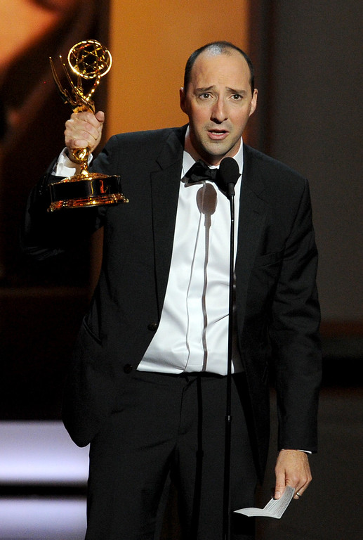 . Winner for Supporting Actor in a Comedy Series, Tony Hale speaks onstage during the 65th Annual Primetime Emmy Awards held at Nokia Theatre L.A. Live on September 22, 2013 in Los Angeles, California.  (Photo by Kevin Winter/Getty Images)