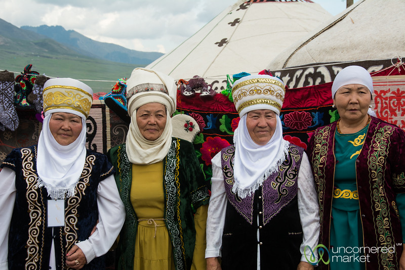 Kyrgyz Grandmothers in Traditional Dress - World Nomad Games, Kyrgyzstan