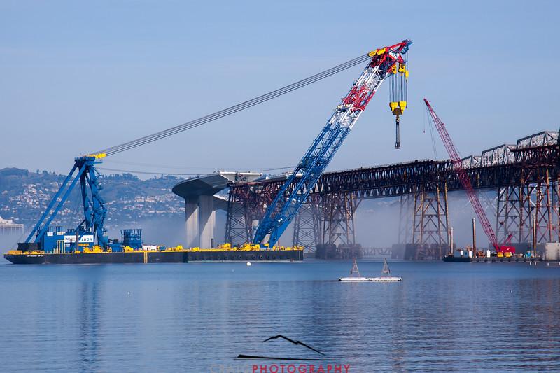The New Bay Bridge, Construction and crane, Oakland, CA