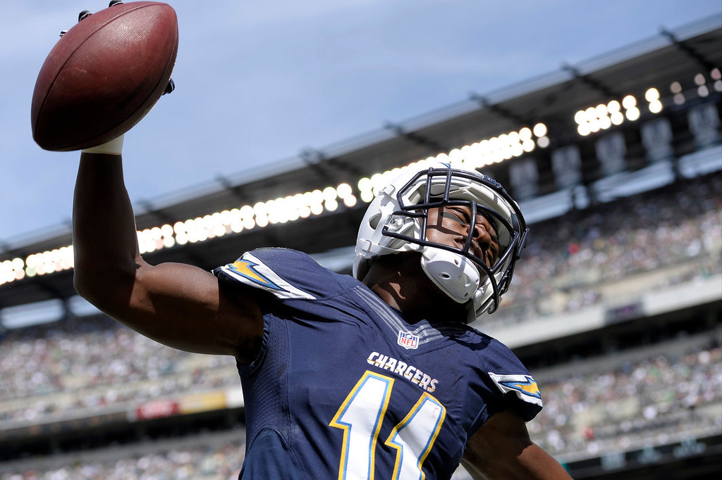 . San Diego Chargers\' Eddie Royal celebrates after scoring a touchdown during the first half of an NFL football game against the Philadelphia Eagles, Sunday, Sept. 15, 2013, in Philadelphia. (AP Photo/Michael Perez)