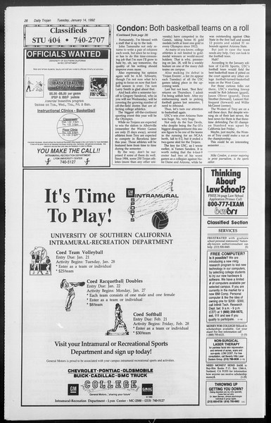 Daily Trojan, Vol. 117, No. 1, January 14, 1992
