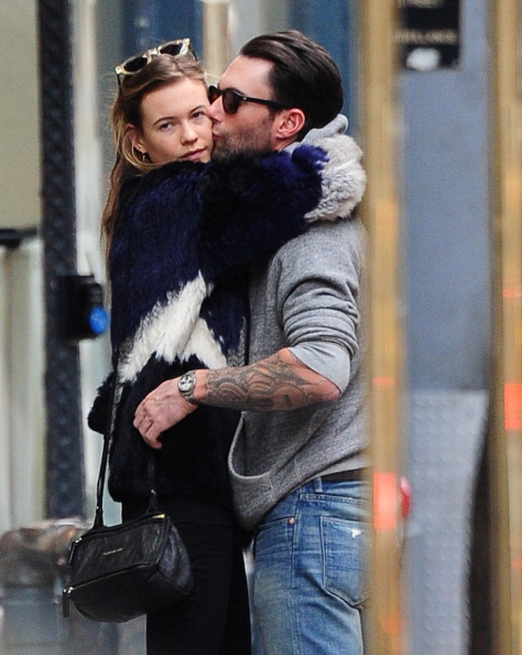 . NEW YORK, NY - NOVEMBER 15: (EXCLUSIVE COVERAGE) Behati Prinsloo and Adam Levine are seen in the West Village on November 15, 2013 in New York City. (Photo by Alo Ceballos/FilmMagic)