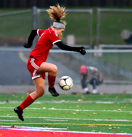 11/12/2019 MIke Orazzi | StaffrBerlin High School's Jocelyn DiMatteo (4) during Tuesday afternoon at Sage Park during the Class L First Round Girls Soccer Tournament with Joel Barlow in Berlin.