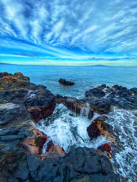 Surging waves on a tidal pool in Kihei, Maui