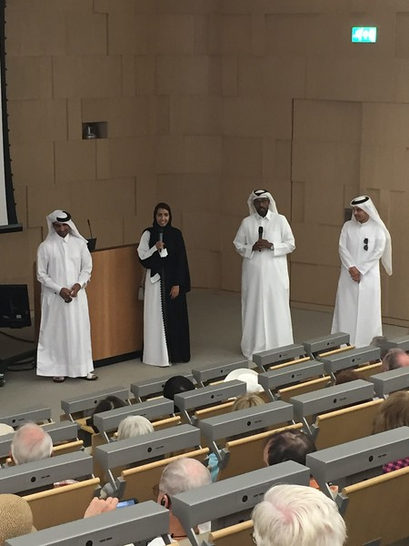 Taking in a lecture at Education City in Qatar - Bridget St. Clair