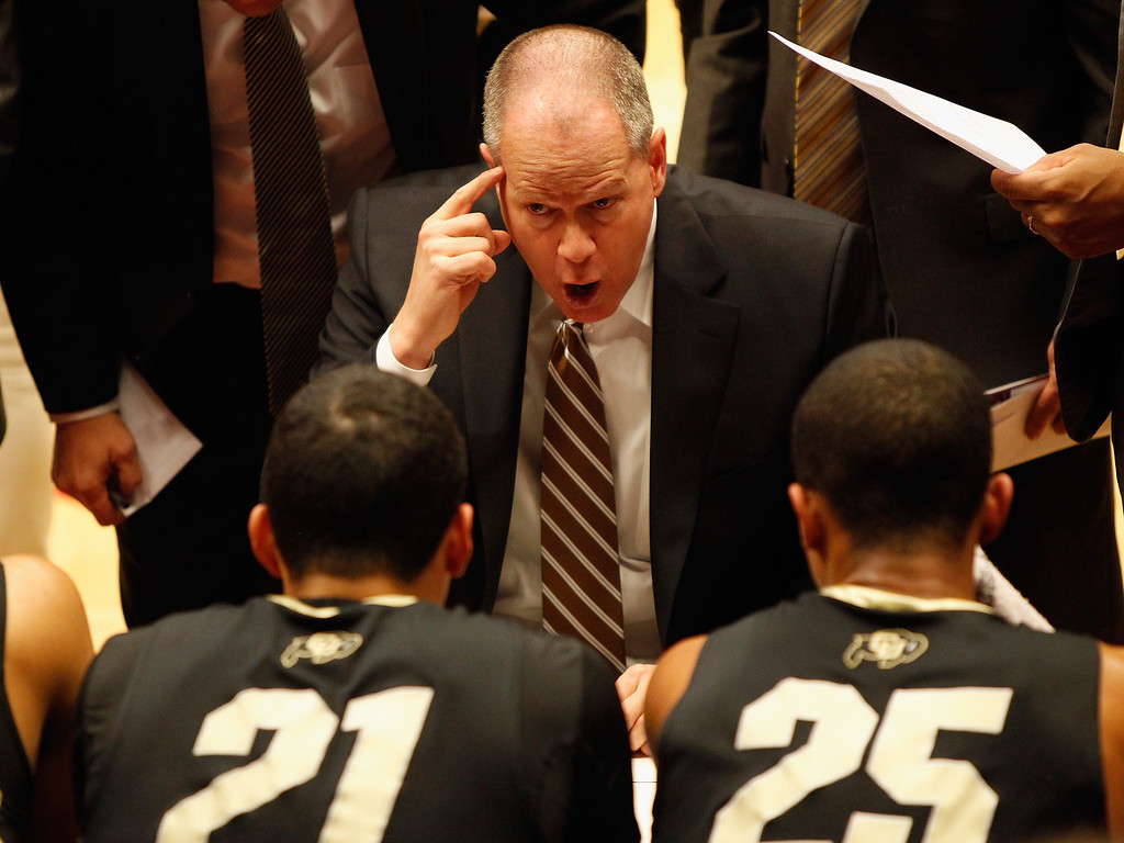 . PULLMAN, WA - JANUARY 19:  Head coach Tad Boyle of the Colorado Buffaloes gives direction to his team during the game against the Washington State Cougars at Beasley Coliseum on January 19, 2013 in Pullman, Washington.  (Photo by William Mancebo/Getty Images)