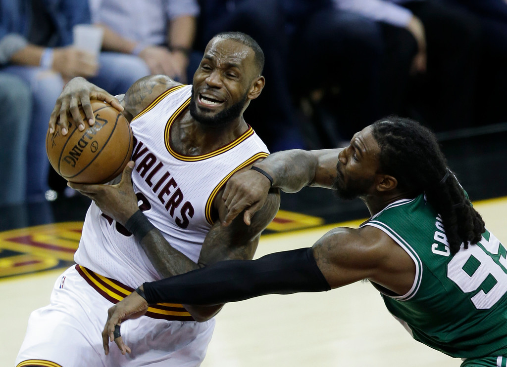 . Cleveland Cavaliers\' LeBron James (23) goes up for a shot against Boston Celtics\' Jae Crowder (99) during the second half of Game 4 of the NBA basketball Eastern Conference finals, Tuesday, May 23, 2017, in Cleveland. The Cavaliers won 112-99. (AP Photo/Tony Dejak)