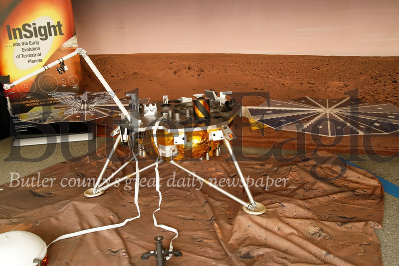 A scale model of the InSight Mars lander on display at the NASA booths at the weekend's Mars festival. Seb Foltz/Butler Eagle