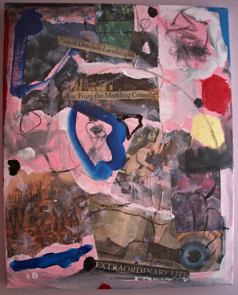 """2010, 16"""" x 20"""". The Couple, Mixed media on canvas."""