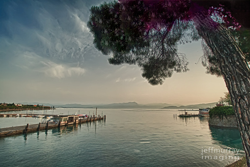 The view from the fort walls looking west out of Peschiera to the mountains.  A lovely boat marina sits just at the western entrance to the moat and I have captured this separately.