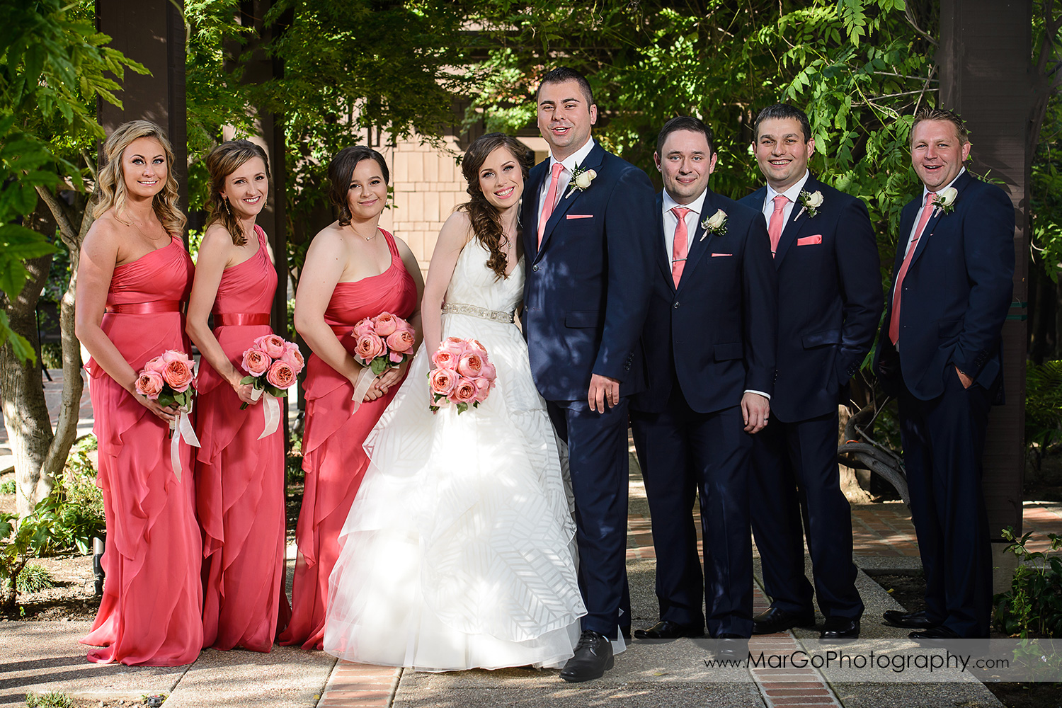 full body portrait of bridal party at Saratoga Foothill Club