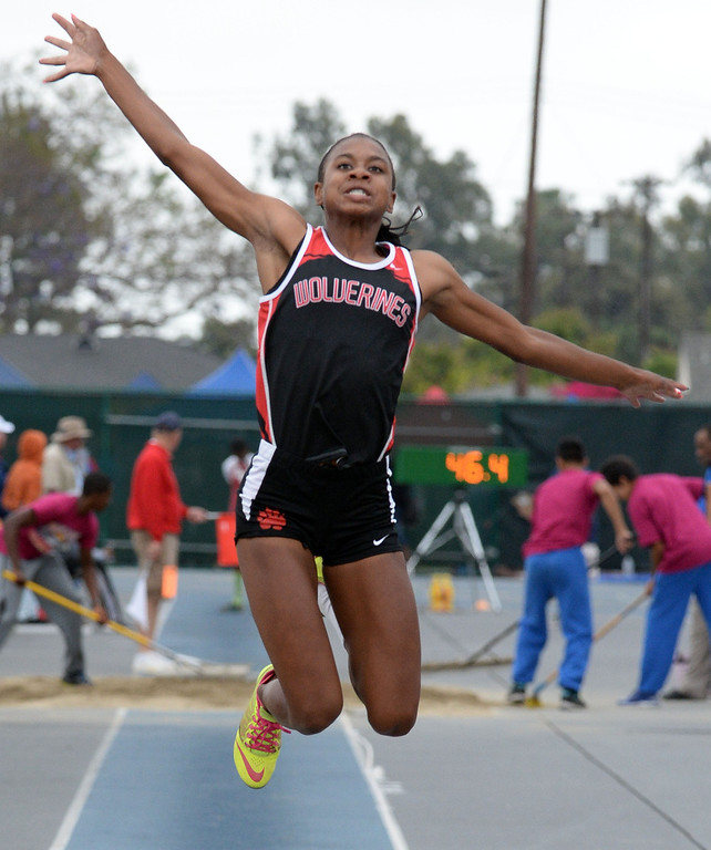 . Harvard Westlake\'s Courtney Corrin competes in the Division 3 long jump during the CIF Southern Section track and final Championships at Cerritos College in Norwalk, Calif., Saturday, May 24, 2014.   (Keith Birmingham/Pasadena Star-News)