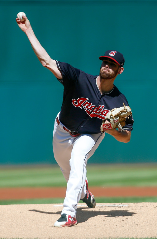 . Cleveland Indians\' Shane Bieber delivers against the Detroit Tigers during the first inning of a baseball game, Sunday, Sept. 16, 2018, in Cleveland. (AP Photo/Ron Schwane)
