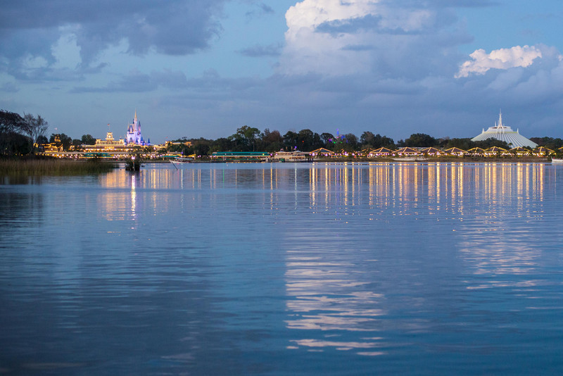 beautiful view from the ferry to the Magic Kingdom.