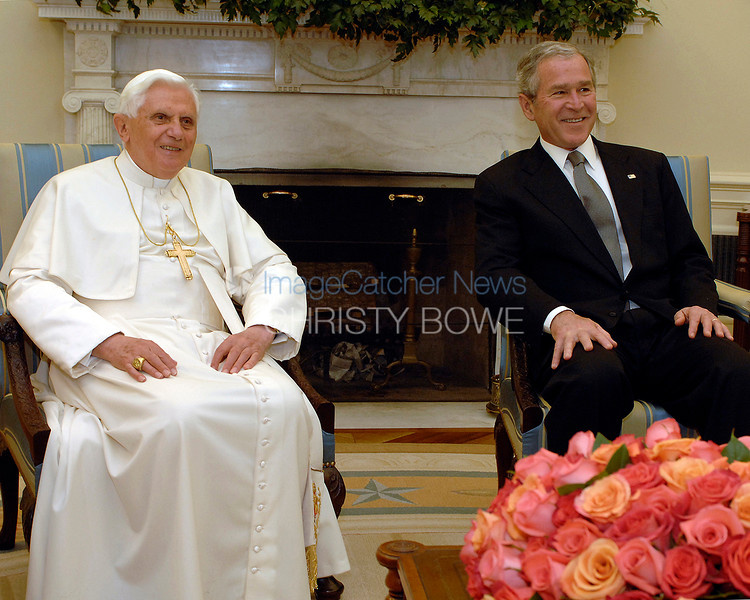 Pope Benedict meets with President Bush in The Oval Office of The White House.