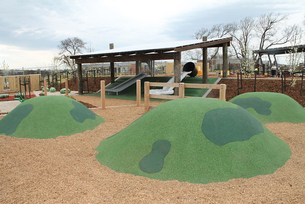 artificial turf mounds and post and rail shade structure