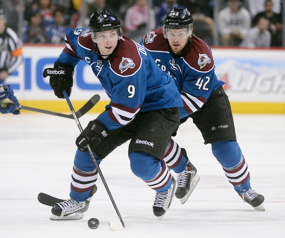 . Matt Duchene (9) and Brad Malone (42) went on the attack in the third period. The Colorado Avalanche defeated the Vancouver Canucks 3-2 in overtime Thursday night, March 27, 2014 at the Pepsi Center in Denver, Colorado. Defenseman Tyson Barrie had the winning goal with an assist from Matt Duchene. (Photo by Karl Gehring/The Denver Post)