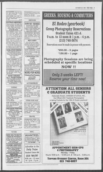 Daily Trojan, Vol. 121, No. 42, October 28, 1993