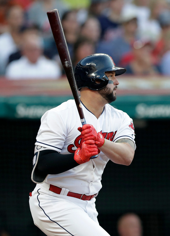 . Cleveland Indians\' Yonder Alonso watches his RBI-single off New York Yankees starting pitcher Luis Severino during the third inning of a baseball game Thursday, July 12, 2018, in Cleveland. (AP Photo/Tony Dejak)