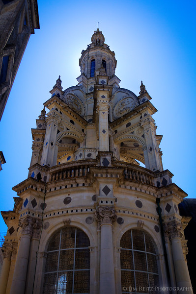 """The central """"Lantern"""" tower atop the big spiral staircase, at Chateau Chambord."""