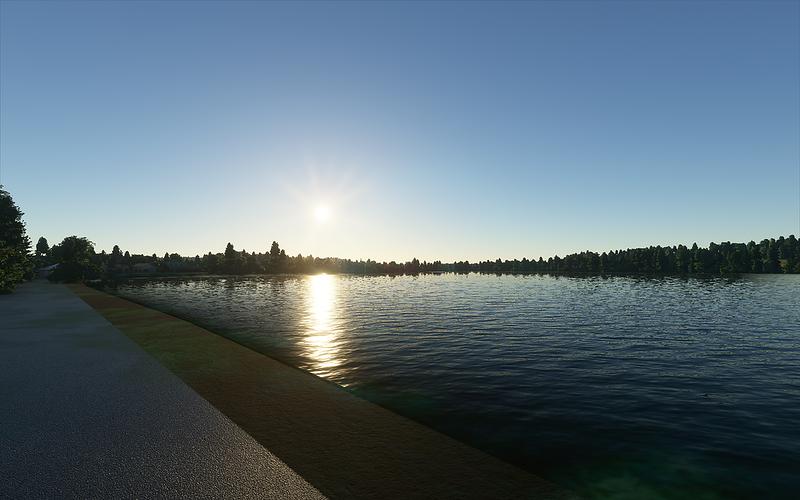 Západ slunce nad Lodenickým rybníkem.