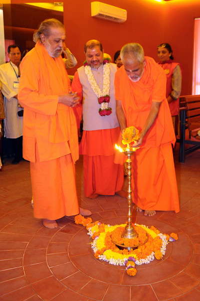 "Inauguration and lighting of the lamp of ""Chinmaya Jeevan Darshan"" (CJD) during the Chinmaya Mission's International Camp, Dec 26th to Jan 1st, 2009 held at Chinmaya Vibhooti, Kolwan, Maharashtra, India."