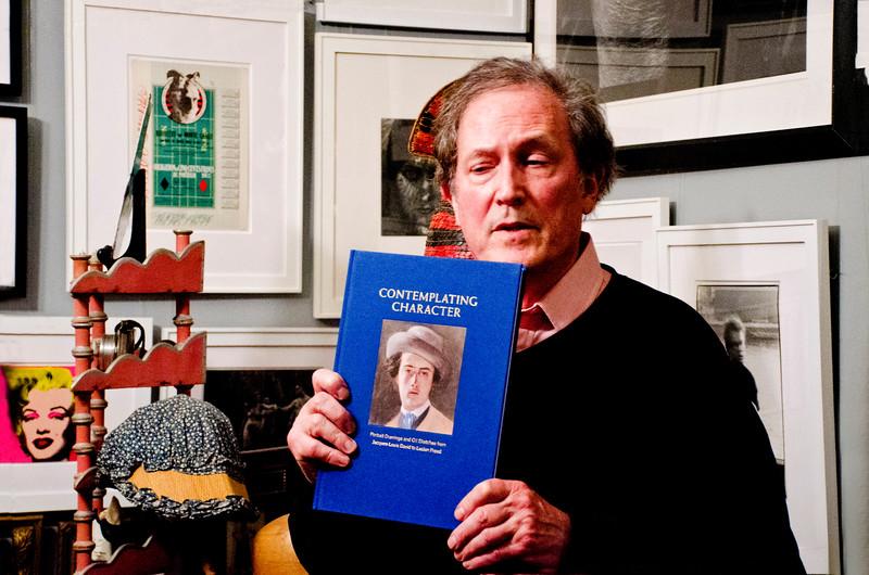 "Birthday party at Robert Flynn Johnson - Robert giving talk on his new book, ""Contemplating Character""."