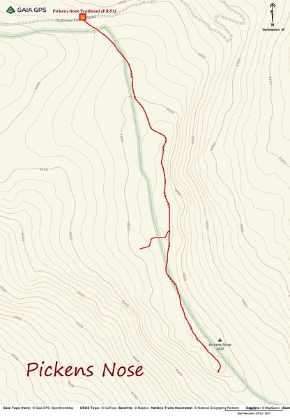 Pickens Nose Hike Route Map
