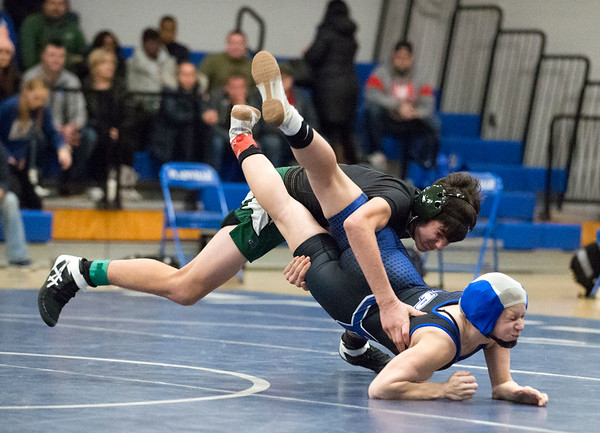 01/02/19 Wesley Bunnell | StaffrrPlainville wrestling was narrowly defeated at home by Maloney on Thursday night. Maloney's Austin Studley would pin Plainvile's Alicia Quirion in the 132lb match.