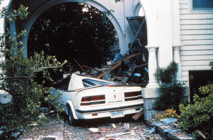 . A house on the southern tip of Charleston fared well during the storm However, the car was not as lucky After passage of Hurricane Hugo in September, 1989. National Hurricane Center. NOAA\'s National Weather Service (NWS) Collection