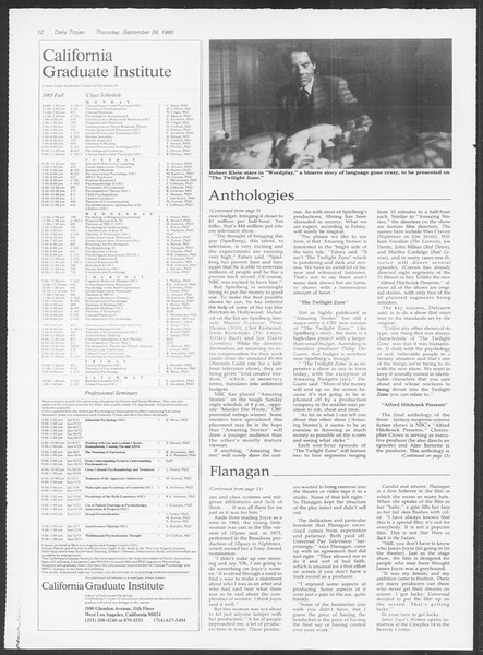 Daily Trojan, Vol. 100, No. 18, September 26, 1985