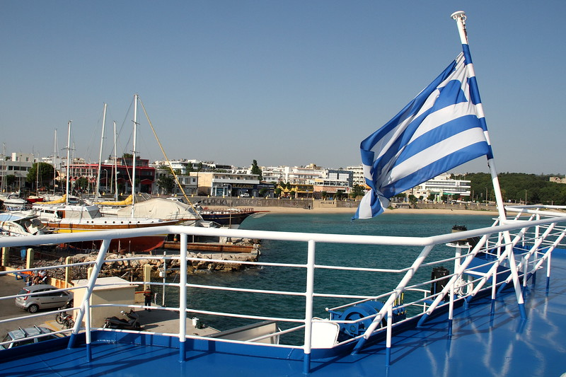 On the ferry from Rhodes to Symi.