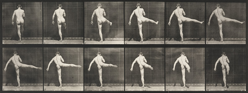 Nude man performing first ballet action (Animal Locomotion, 1887, plate 369)
