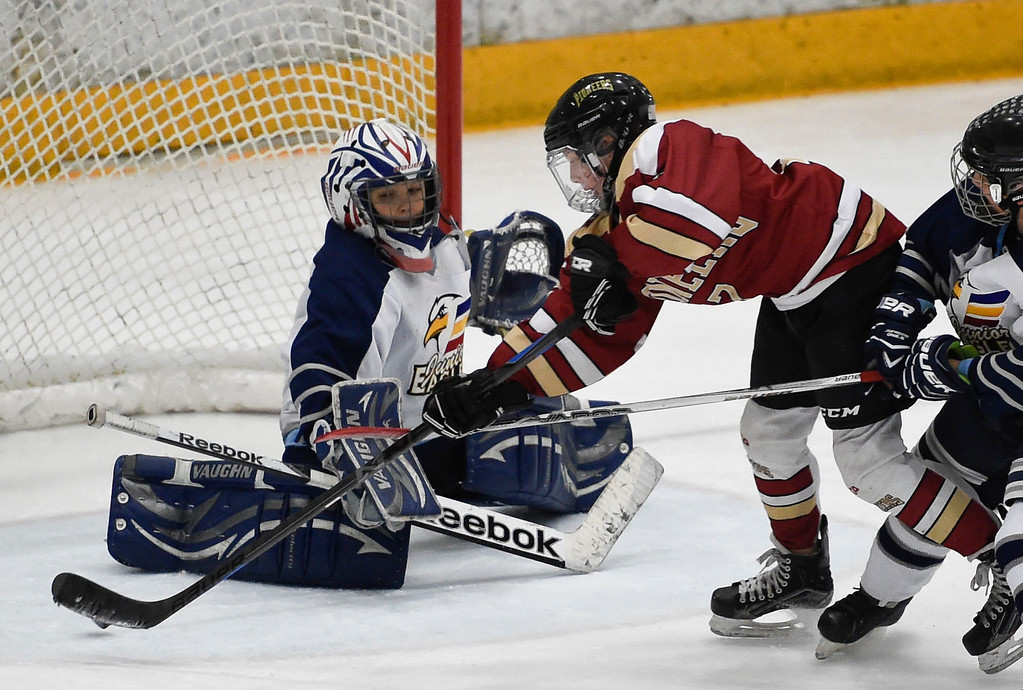 . Eagles G Evan Stringer (1) makes a save on a shot by Pioneers Ben Larson (17) during the second period. The Eagles defeated the Pioneers 4-3 to capture the CCYHL Squirt A Governors Championship. February 21, 2016 at the Ice Center at the Promenade. (Photo By John Leyba/The Denver Post)
