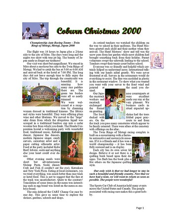 2000 Coburn Christmas Newsletter