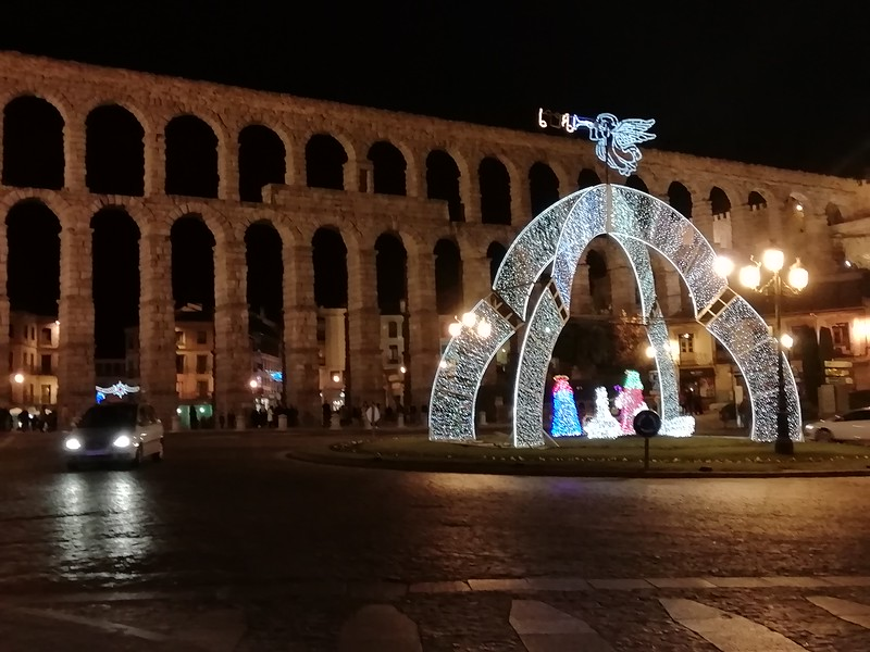 Segovia aqueduct at Christmas time