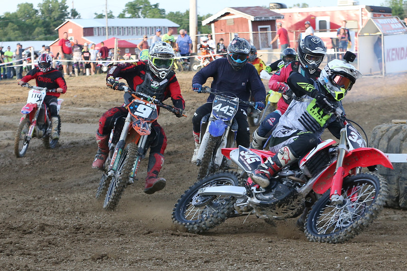 Wadsworth's Bailey Luntsford (345) leads the field into the first during his race at the Medina County Fair. Aaron Josefczyk/Gazette
