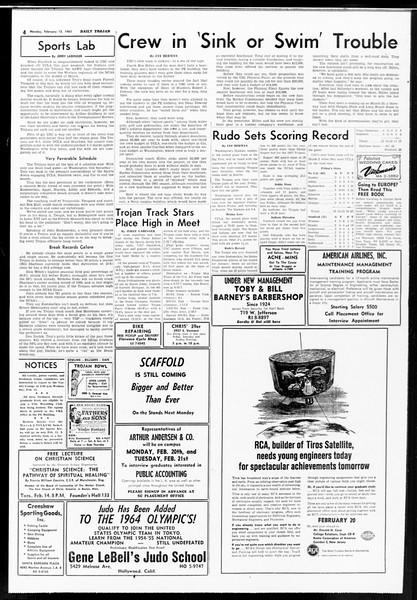 Daily Trojan, Vol. 52, No. 69, February 13, 1961