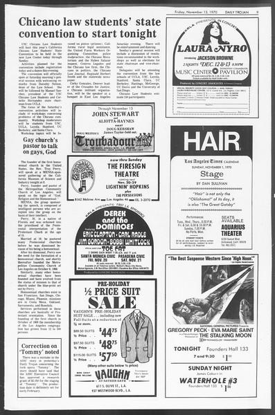 Daily Trojan, Vol. 62, No. 37, November 13, 1970