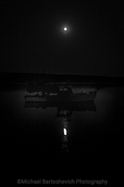 Moon Spying Fisherman's Boat