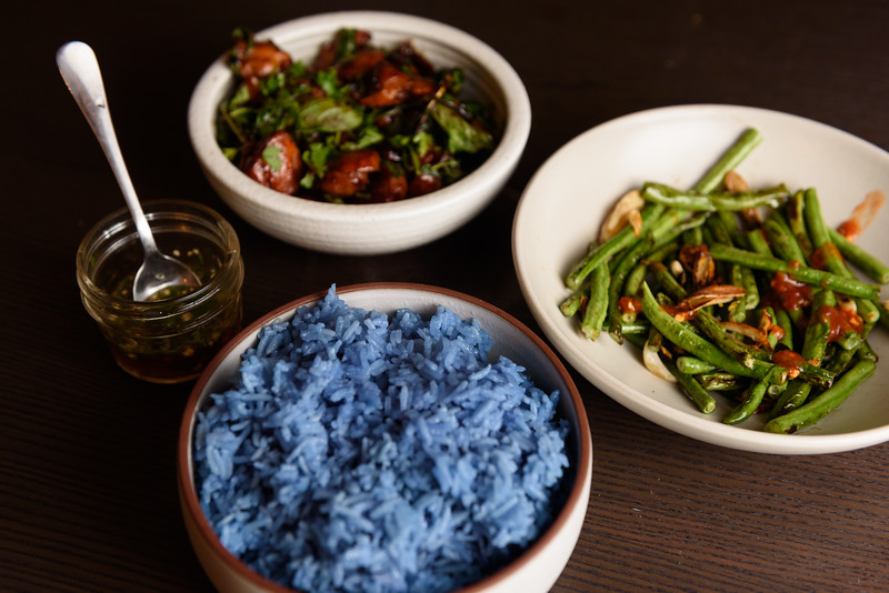 blue rice, long beans, three cup chicken