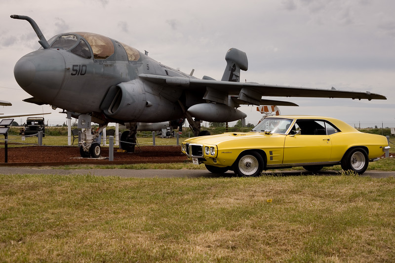 The Firebird in front of a AE-6B Prowler at the Castle Air Museum, April 22, 2017.