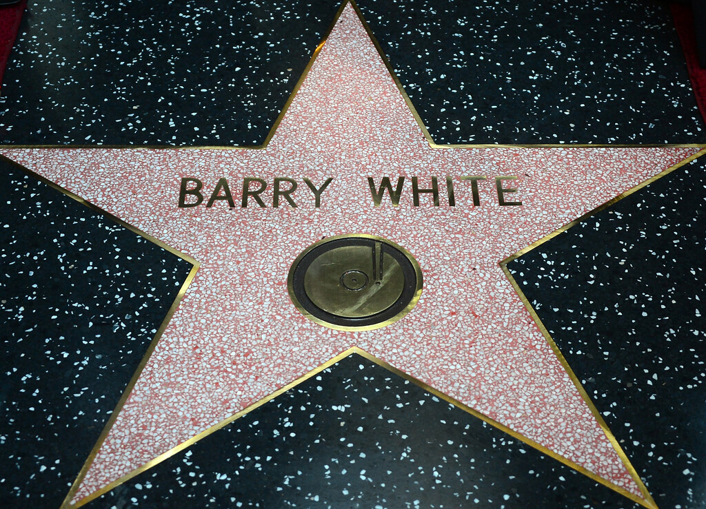 . The late Barry White\'s posthumous star unveiled along the Hollywood Walk of Fame on September 12, 2013. White, who died in 2003 and would have celebrated his birthday September 12, is most well known for his 1970\'s instrumental \'Love\'s Theme\' and is the recipient of the 2,506th Star in the category of recording.      (FREDERIC J. BROWN/AFP/Getty Images)