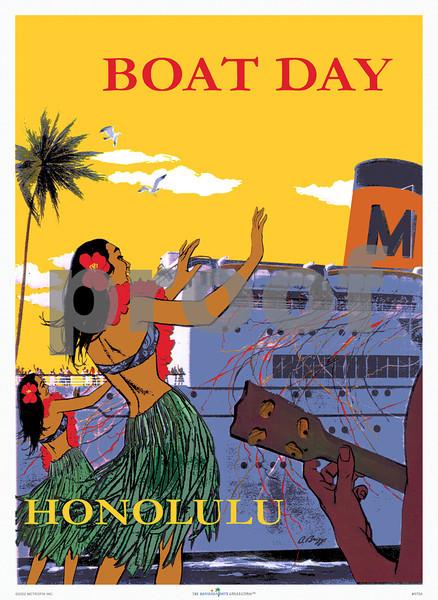 075: 'Boat Day, Honolulu.' Sheet Music Cover, ca 1940.
