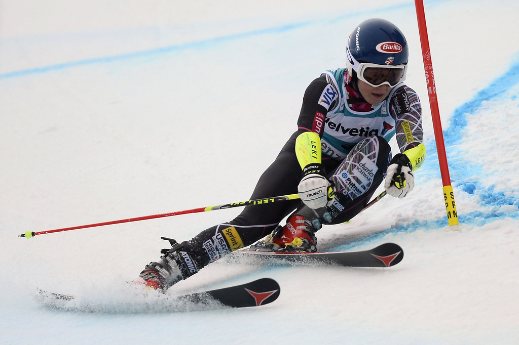 . Mikaela Shiffrin of the US competes during the FIS Women\'s alpine skiing World Cup Giant Slalom finals,  on March 16, 2014,  in Lenzerheide. AFP PHOTO / FABRICE COFFRINI