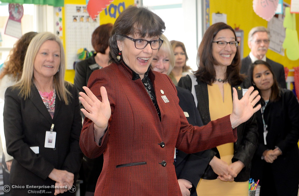 . CSUC President Gayle Hutchinson smiles as she is introduced to a group of kindergarten students in Becky Perry\'s class while Butte County Educational leaders gather at Little Chico Creek Elementary School in Chico, Calif. to sign the Butte County Promise Thursday Feb. 1, 2018. The Promise is to all students in Butte County for an opportunity at a college education. (Bill Husa -- Enterprise-Record)