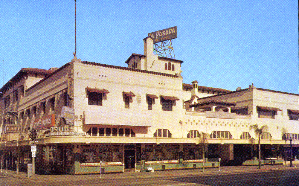 . Postcard of La Posada Hotel in downtown Redlands.
