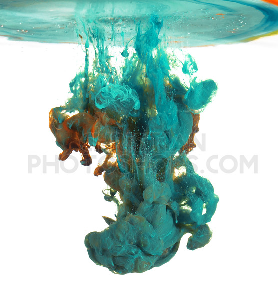 Blue and paint in water